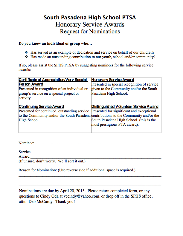 Sphs ptsa honorary service awards south pasadena high school ptsa click here to print the form and turn it into the sphs office or email the nomination form to cindy oda at vccindyyahoo yadclub Choice Image